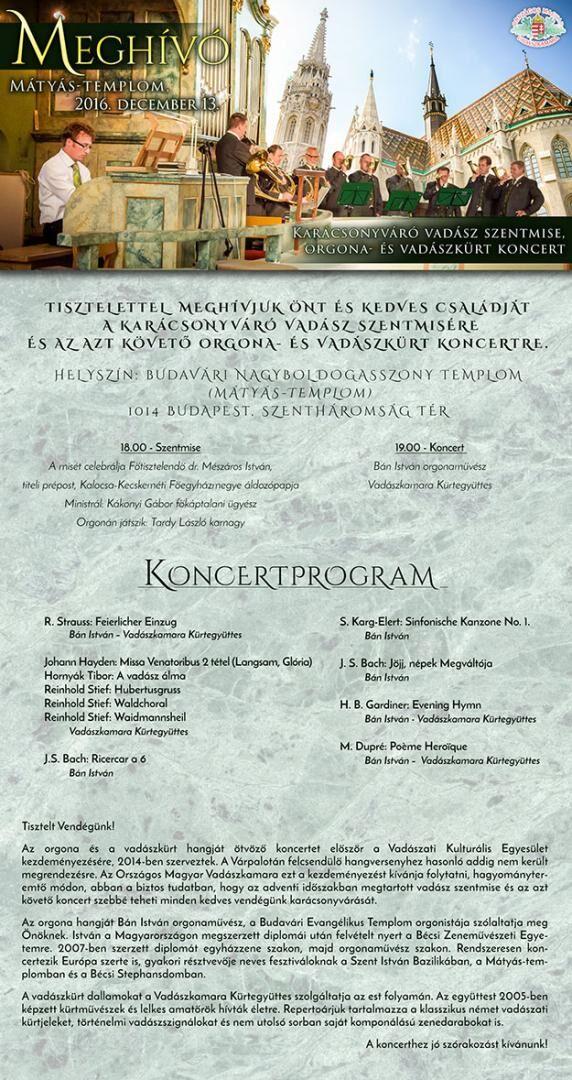 Vadász Szentmise és vadászkürt koncert a Mátyás Templomban